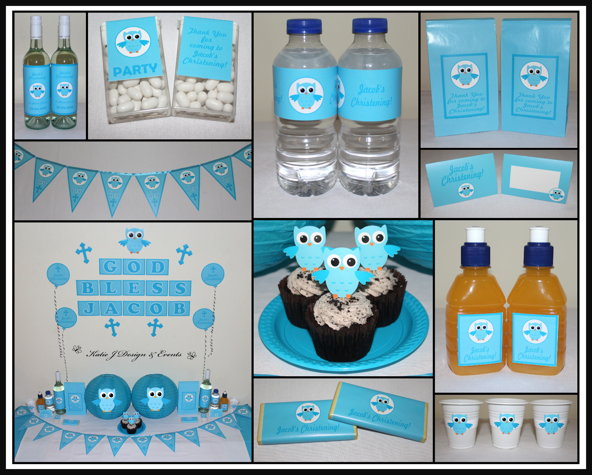 Cross Holy Communion Blue And White Personalised Christening Baptism Bunting