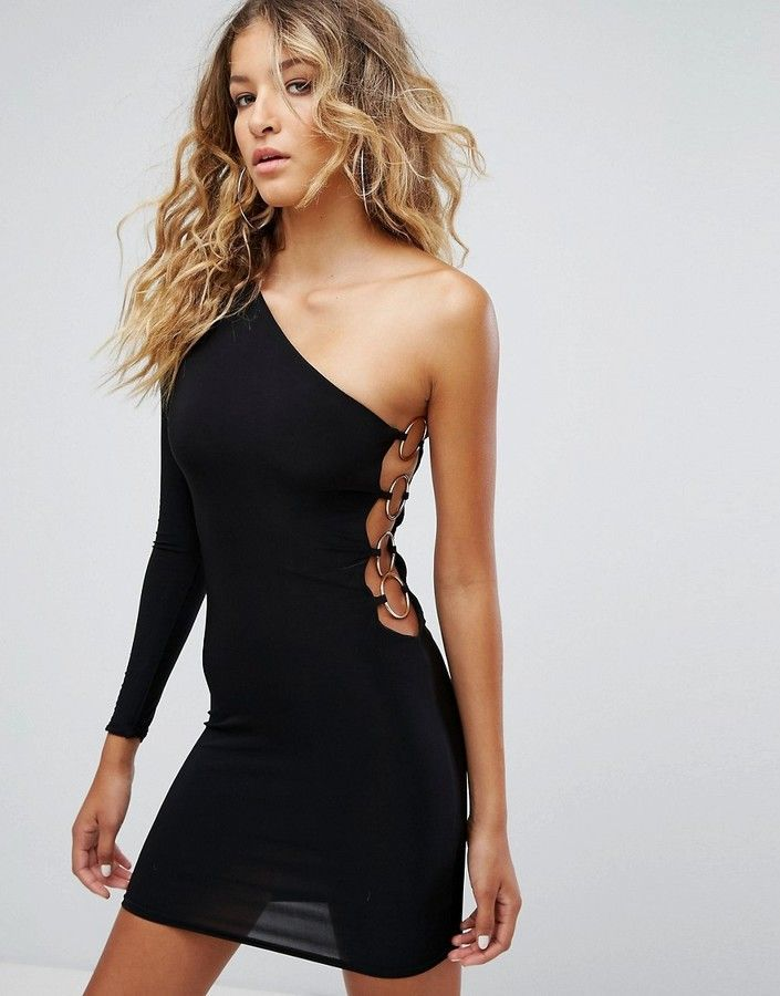 Club L One Shoulder 80s Mini Bodycon Dress Black Products