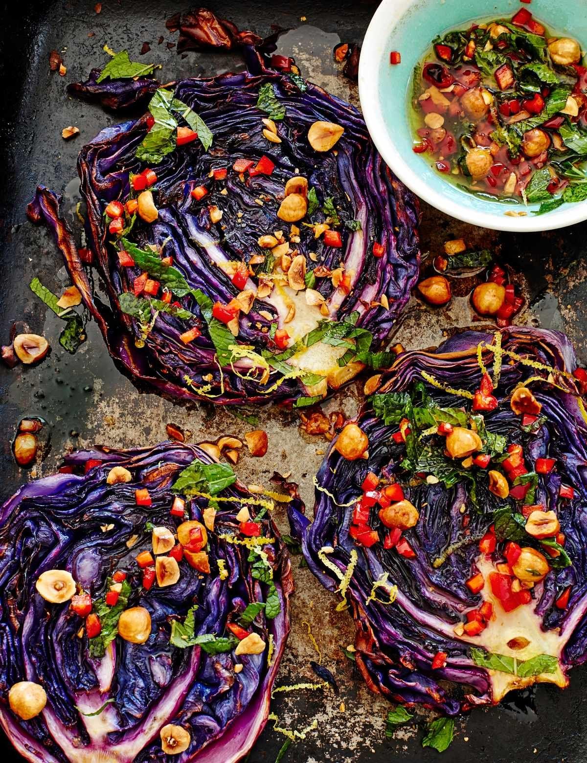 Roasted cabbage steaks with hazelnut dressing | Recipe ...