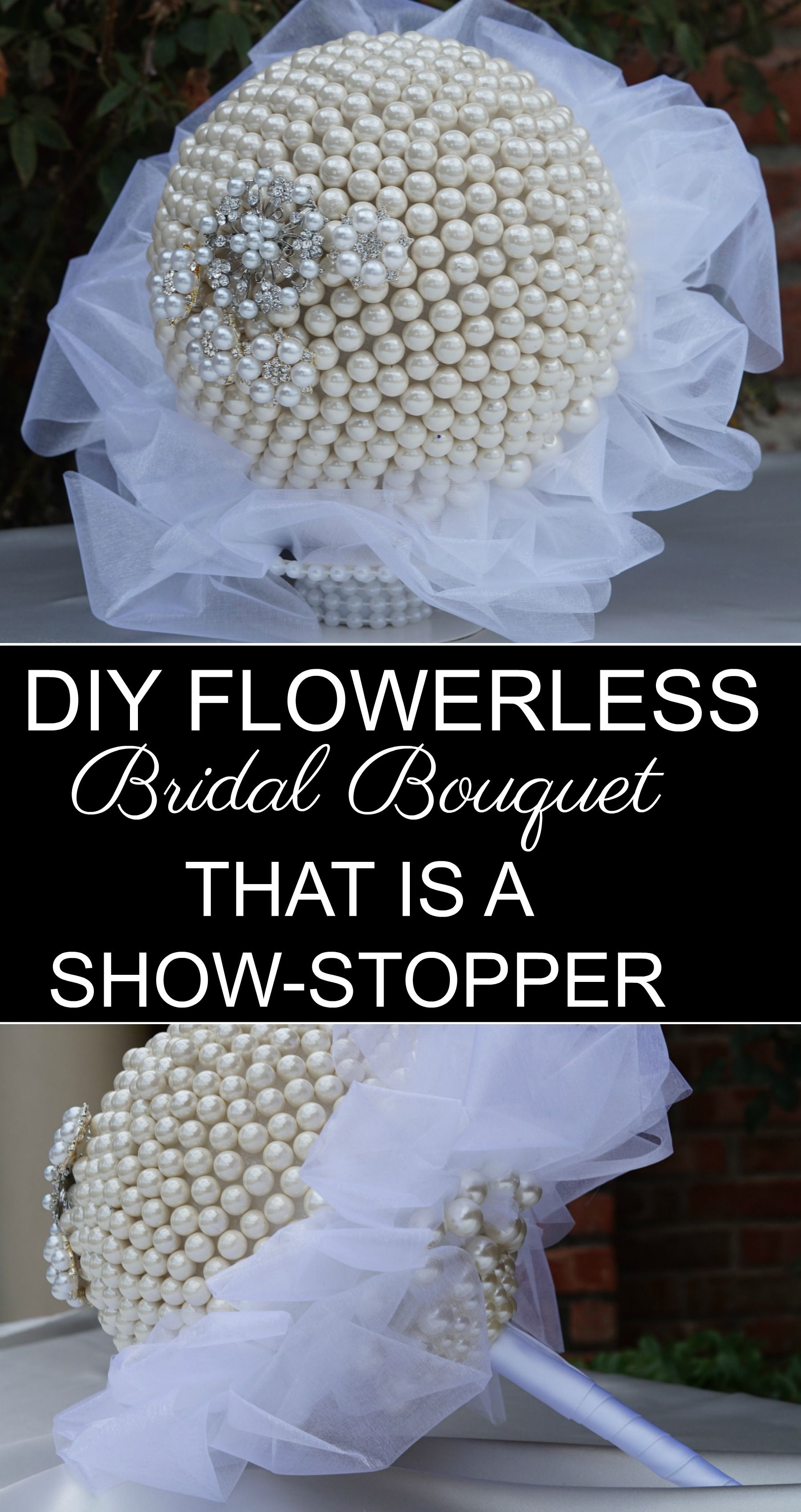 Diy flowerless beautiful pearl bridal bouquet that is a show stopper
