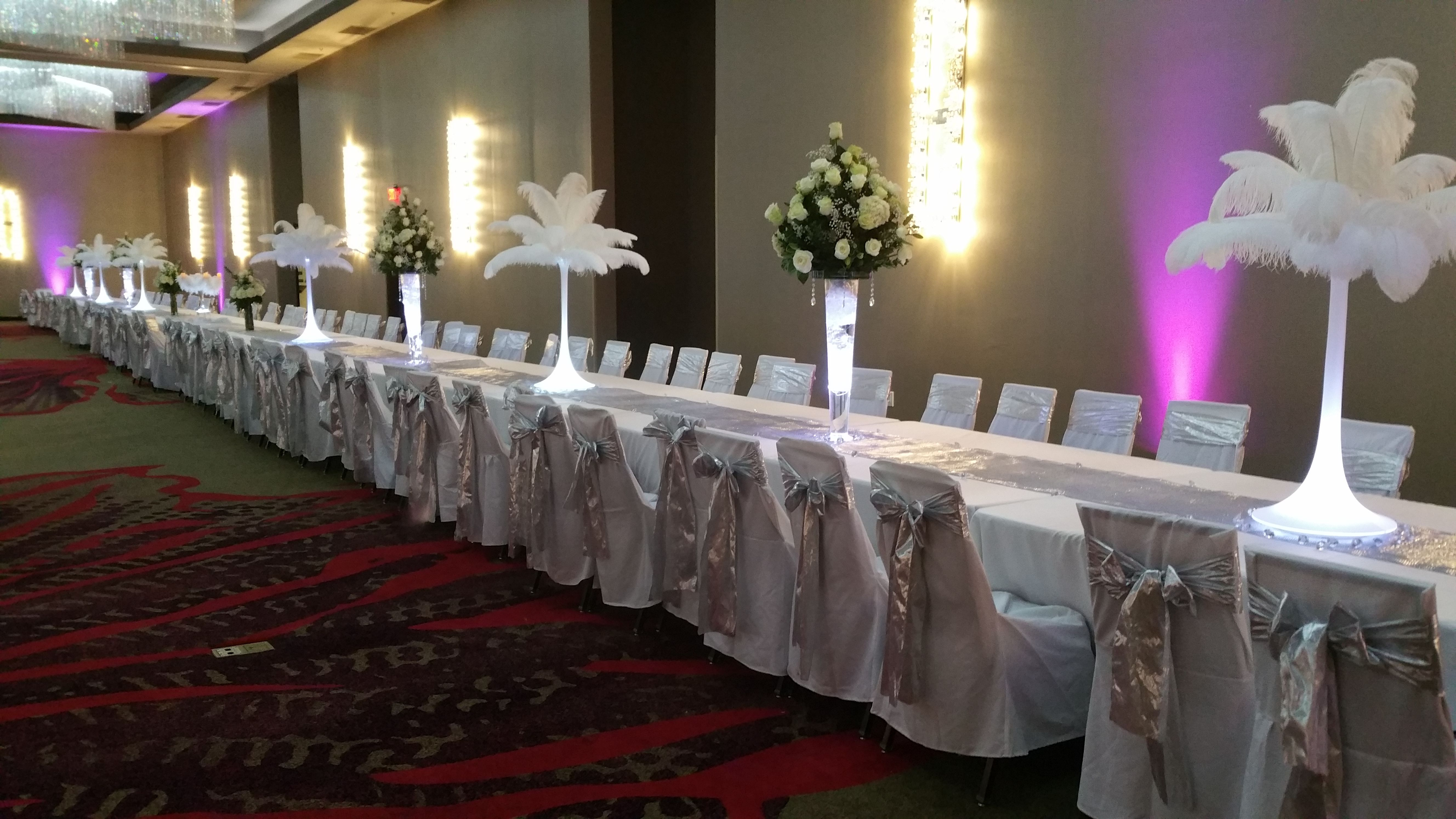 Ostrich feather centerpiece rental by