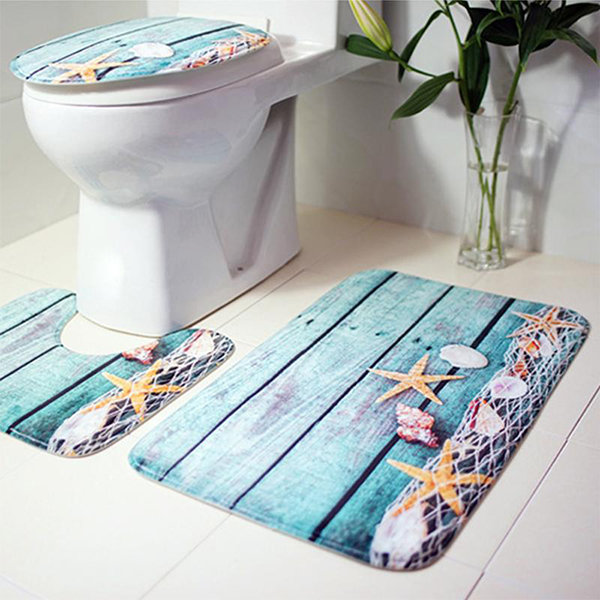 77 Styles 3Pcs//Set Bath Mat Non-Slip Floor Carpet Rugs Toilet Lid Cover Bathroom