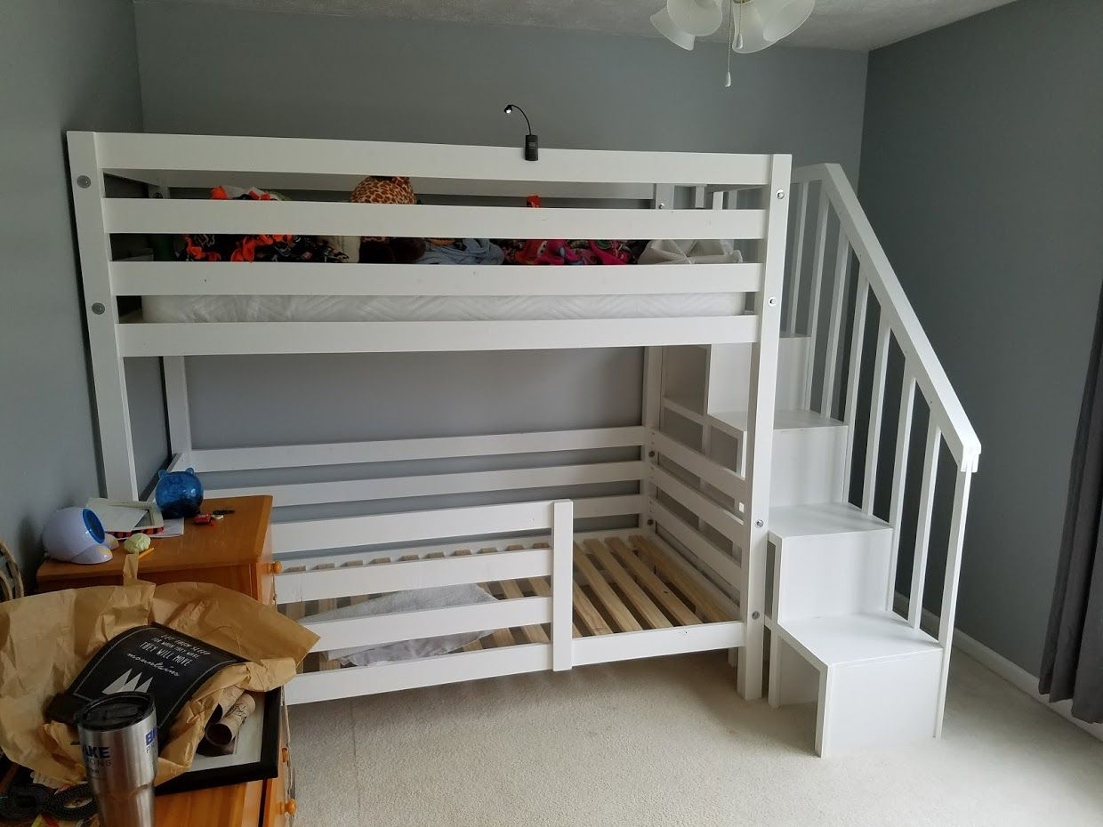 Ana White Classic Bunk Beds Re Imagined With Stairs Diy Projects Diy Bunk Bed Kids Bunk Beds Bunk Bed Plans