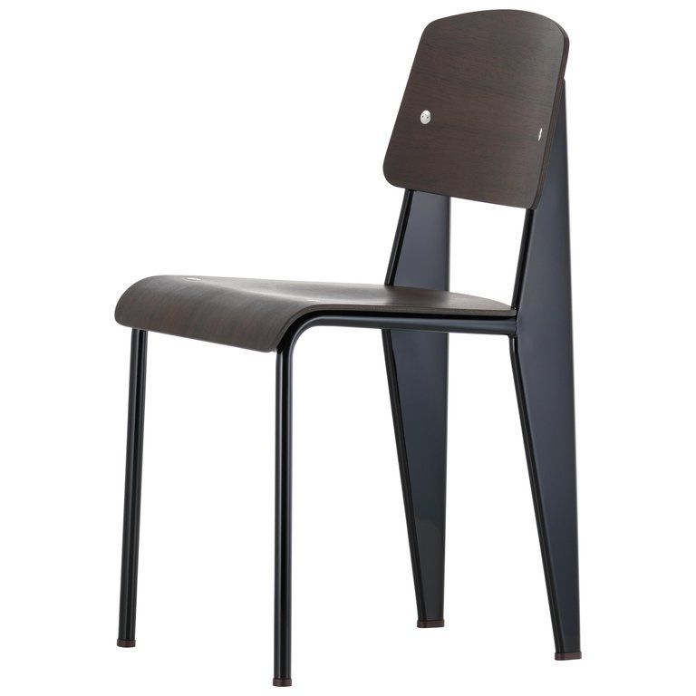 Jean Prouvé Standard Chair in Black Tinted Walnut and Black