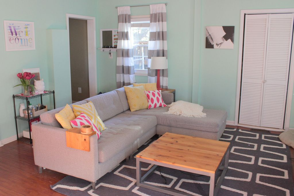 Pretty Living Room With Mint Green Aqua Walls Grey And White Striped Curtains A Modern