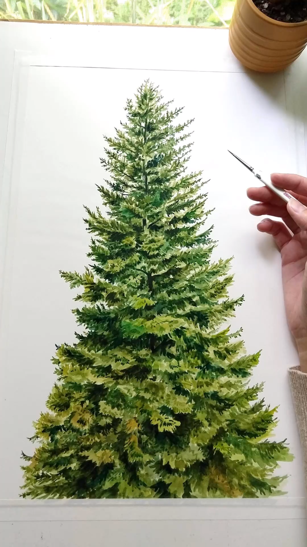 Painting a coniferous tree in watercolor time lapse video.  #thesoundofmusic