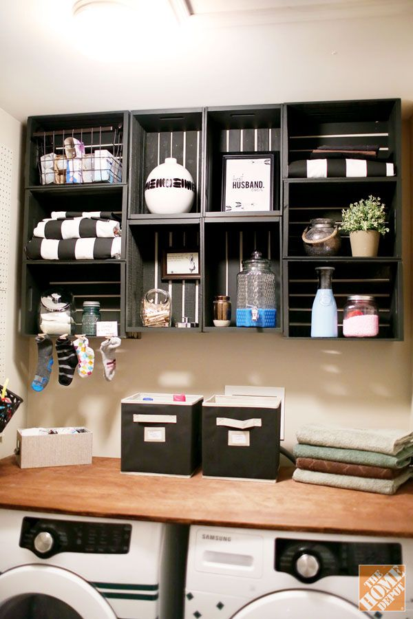 Shelves From Wooden Crates Laundry Room Makeover That S Easy And Inexpensive The Home Depot