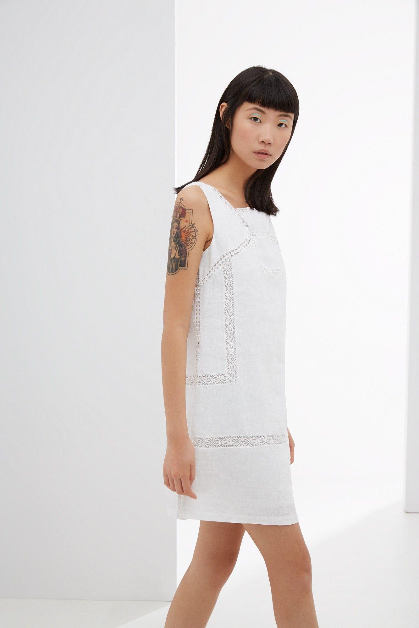 f8f1a938 Vestido blanco de lino - u woman | Adolfo Dominguez shop online ...