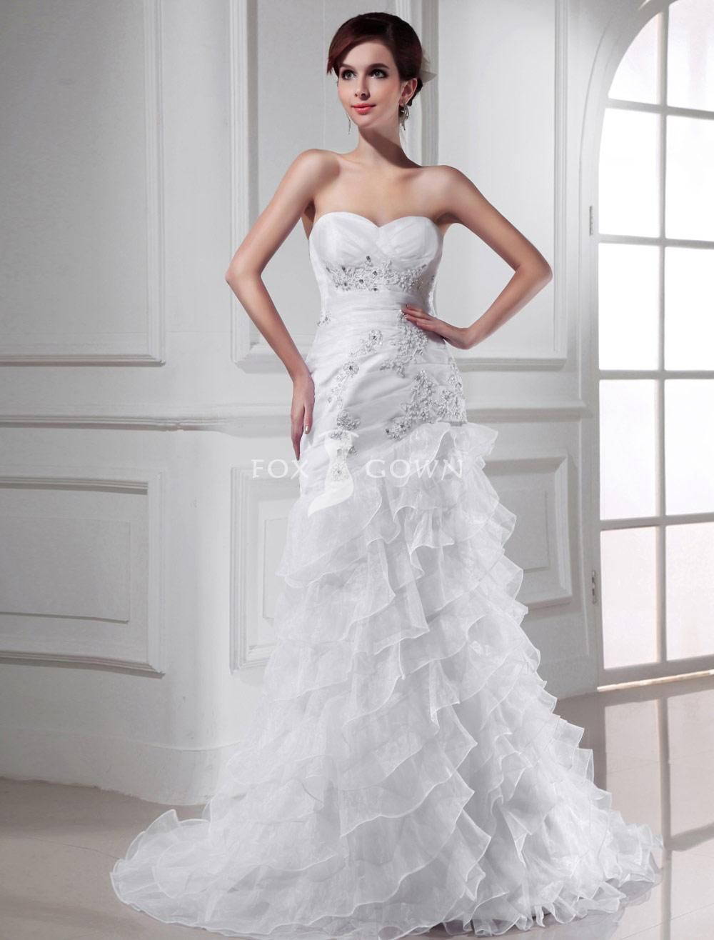 Sweetheart Strapless Fit And Flare Drop Waist Lique Organza Wedding Dress With Ruffled Skirt
