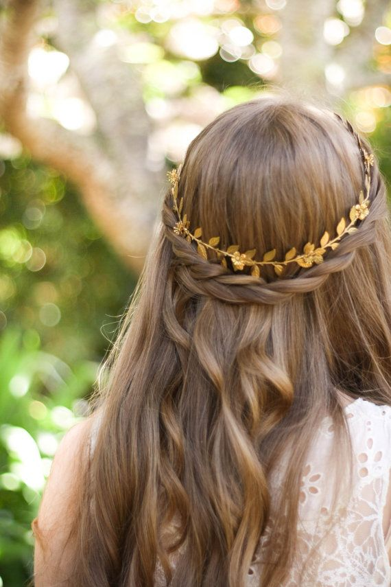 Greek Goddess Laurel Leaf circlet Gold flower by AnnaMarguerite