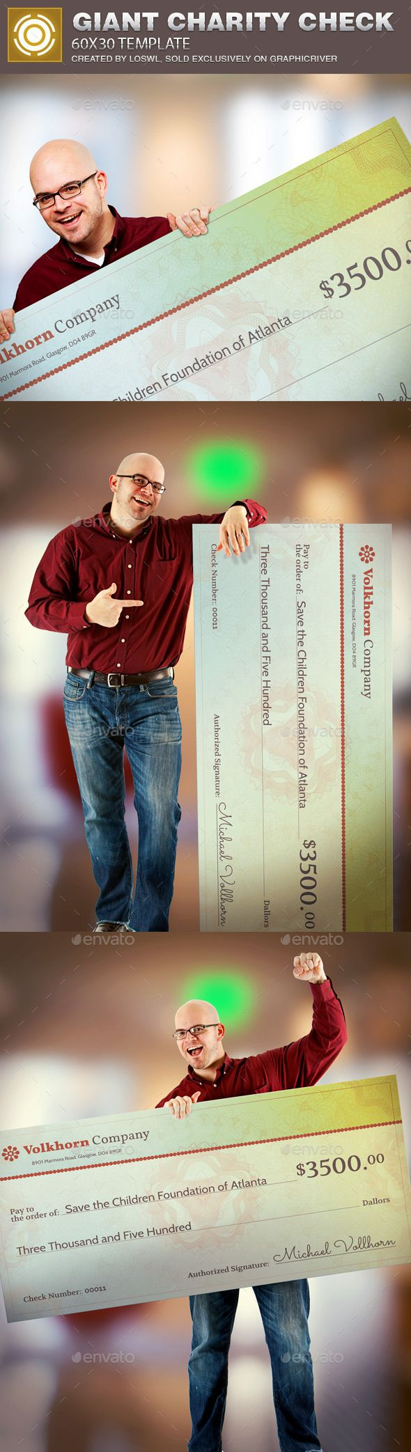 Giant Charity Check Template Is Great For Any Charity Donation Presentation Charity Checks Are A Low Cost Way To Present Charity Charity Fundraising Templates Large check for presentation template