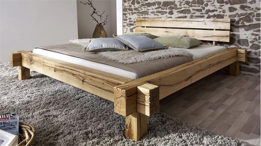 Balkenbett JONAS Bett aus Wildeiche massiv 180x200 Bett