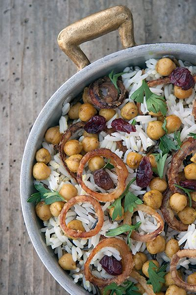 Ottolenghi's basmati and wild rice with chickpeas, fried onions, currants and herbs