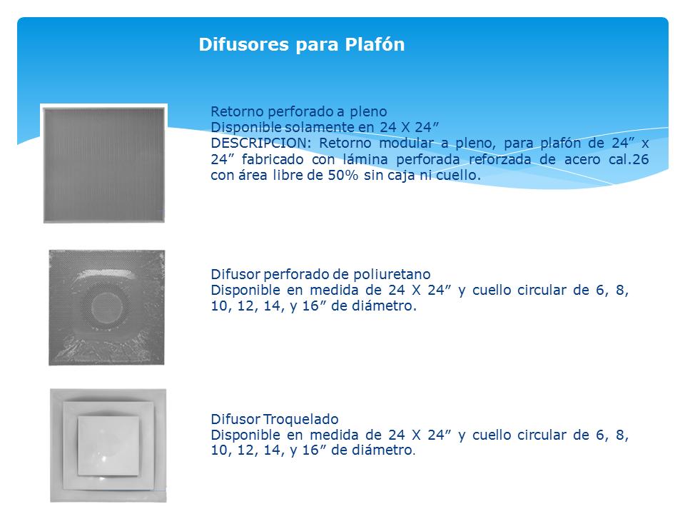 Contamos con Difusores para sistemas de ventilación y aire