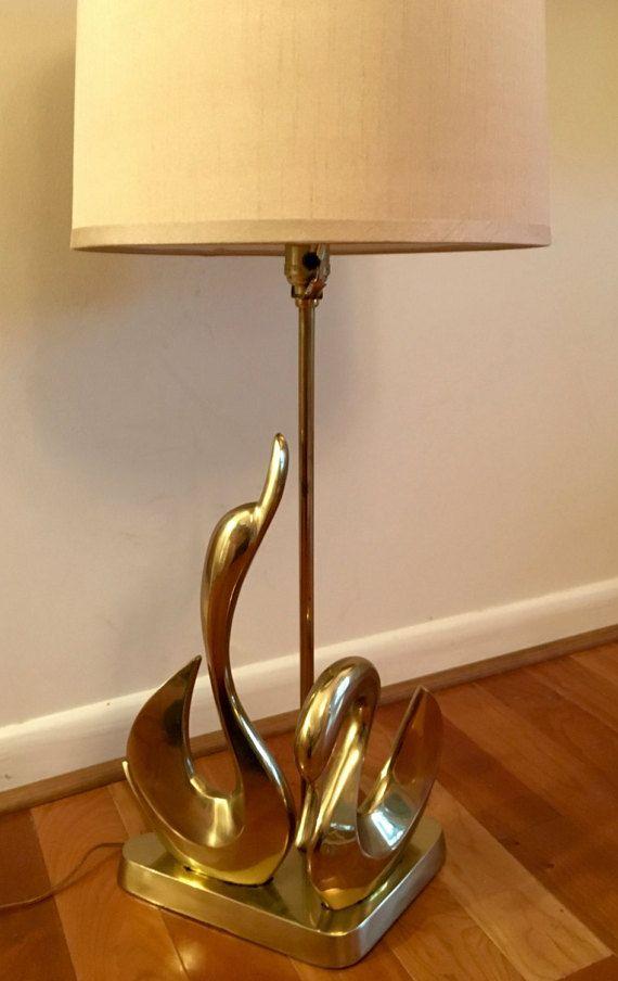 Mid Century Modern Brass Swans Table Lamp Swan Midcentury Modern
