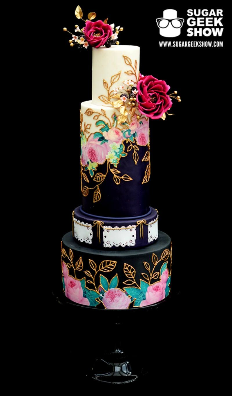 Jewel toned mexican inspired wedding cake by sugar geek - Jewel cake decorations ...