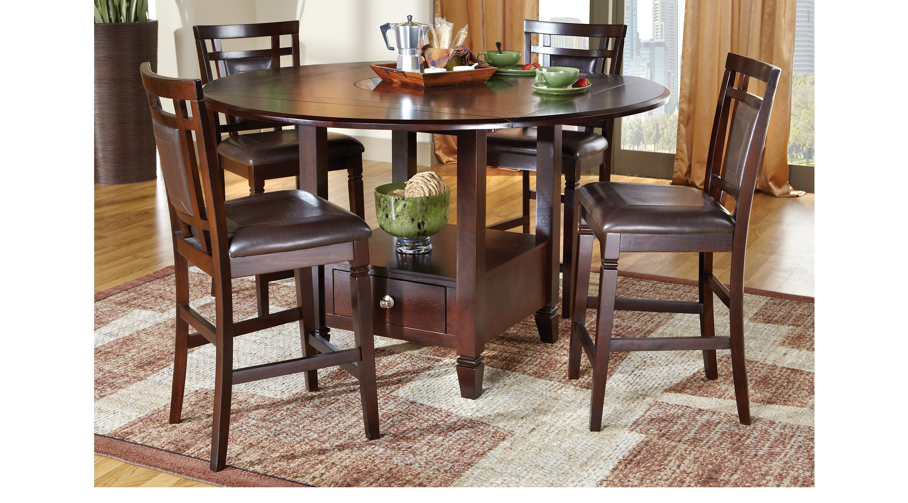 Landon Chocolate 5 Pc Counter Height Dining Set Dining Room Sets Dark Wood In 2020 Rooms To Go Furniture Dining Room Sets Round Dining Room