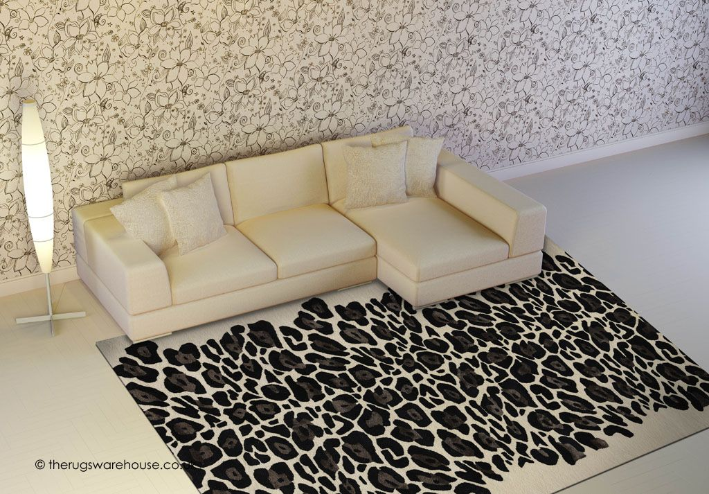 Leopard Black Rug A Luxury Hand Tufted Designer Wool Viscose Carpet With