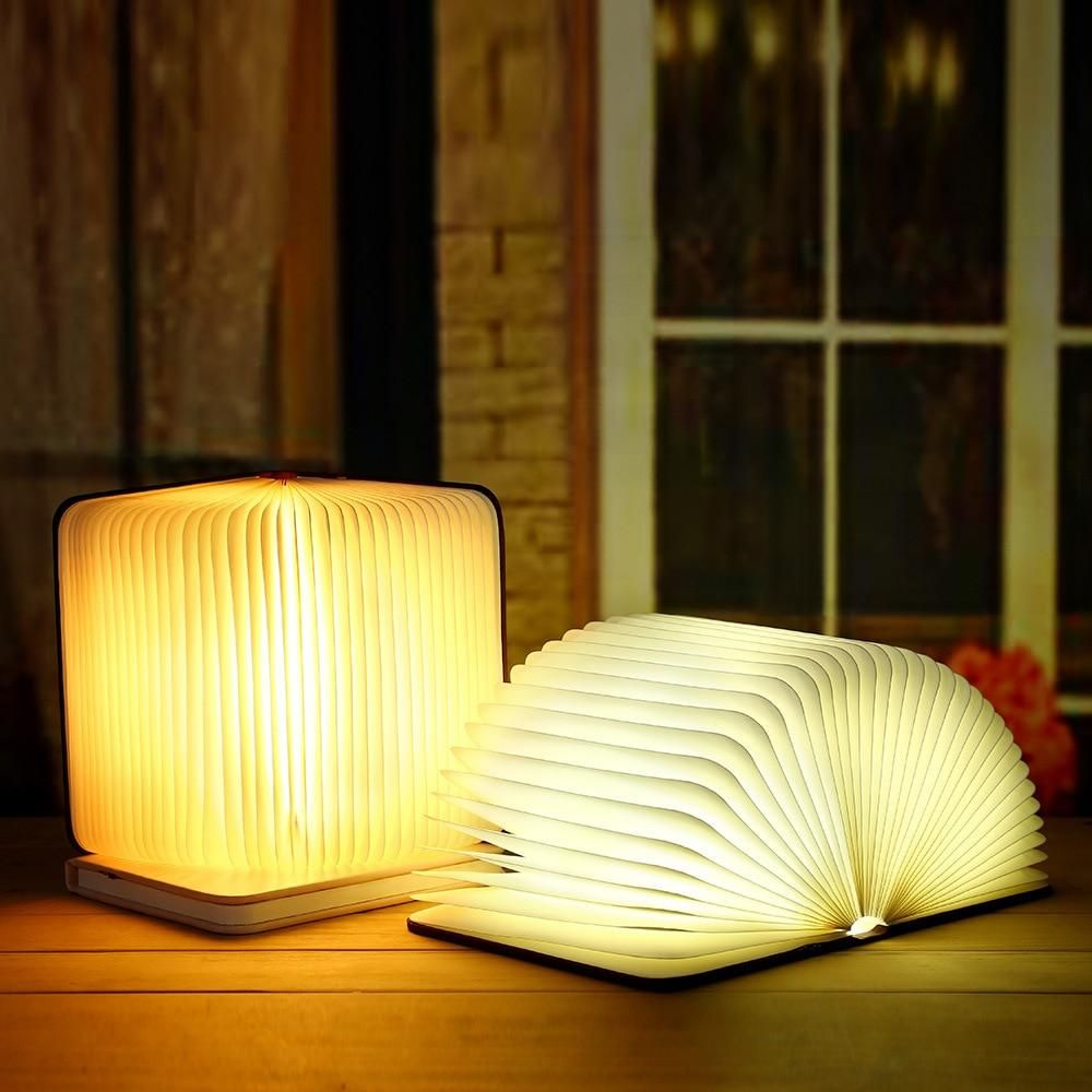 Wooden Folding Book Lamp In 2020 Book Lamp Led Table Lamp Table Lamp