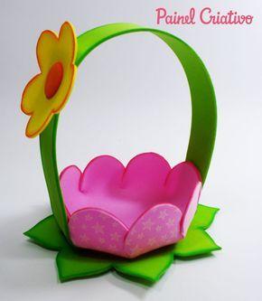 passo a passo cestinha formato flor lembrancinha enfeite mesa festa  aniversario infantil menina eva porta guloseimas