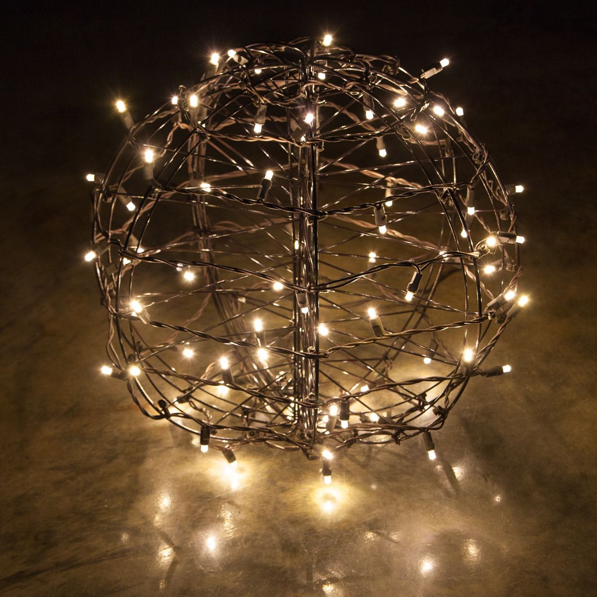 Warm White LED Christmas Light Ball, Fold Flat Brown Frame