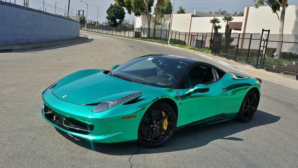 Shiny Turquoise Chrome Ferrari 458 Motorward Ferrari 458 Holographic Car Chrome Cars