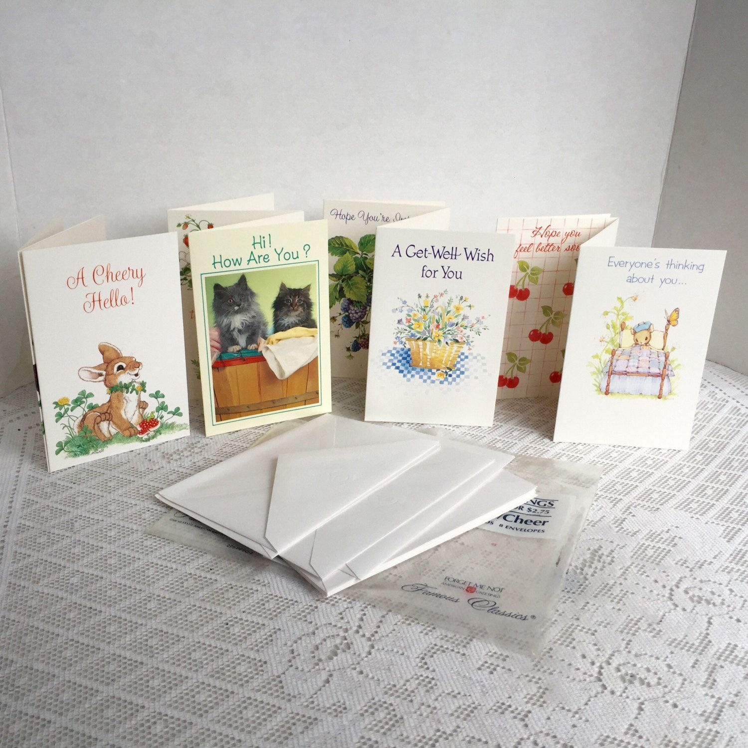 Greeting Cards And Envelopes Vintage Get Well Cards Forget Me