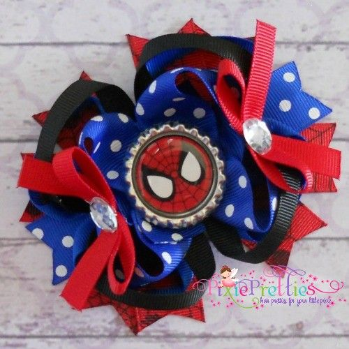 Spider Man Stacked Boutique Hair Bow