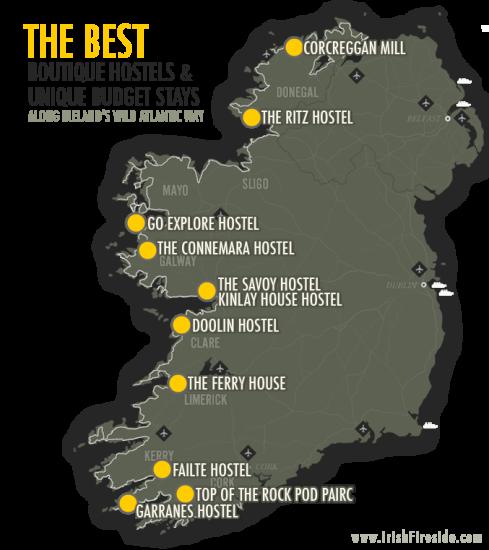 hostel irland karte Best Boutique Hostels and Unique Budget Stays Along Ireland's Wild