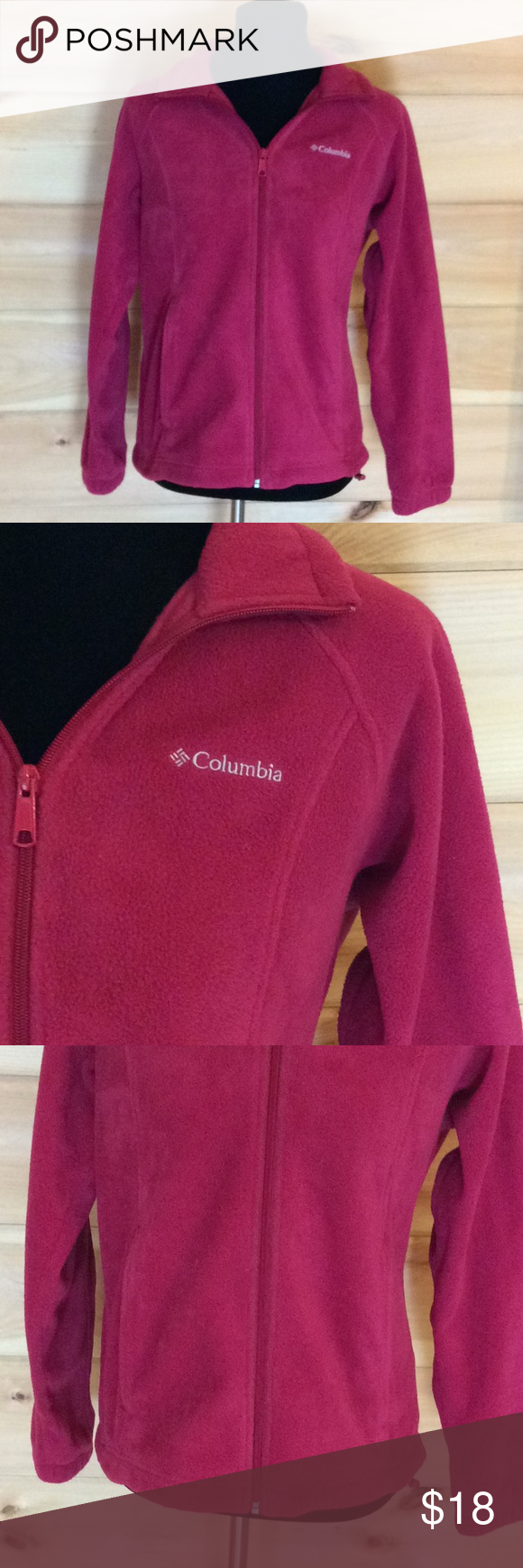 Columbia hot pink fleece zip up jacket petite m in my posh