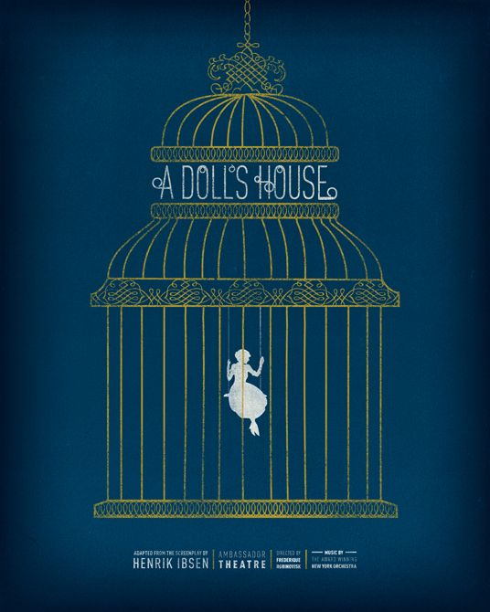 Silkscreened With Gold Ink Poster For A Doll S House Design By