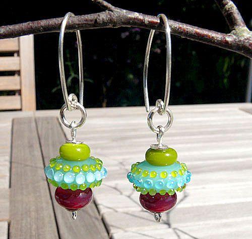 Cupcake Earrings  Handmade lampwork glass and by ManuelasGlassArt, $75.00