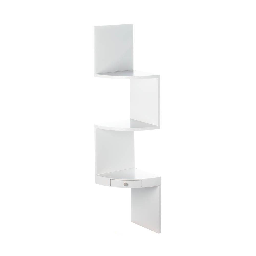3 Tier Corner Shelf With Drawer White White Corner Shelf White Wall Shelves Wall Shelves