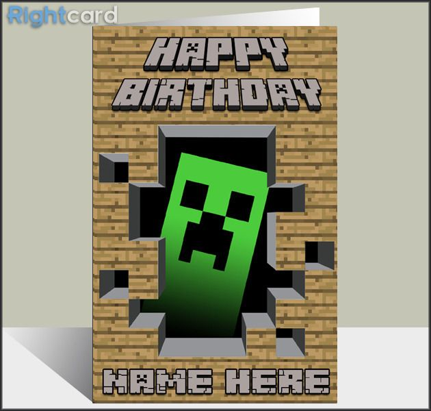 Minecraft birthday card google search greeting cards minecraft birthday card bookmarktalkfo Image collections