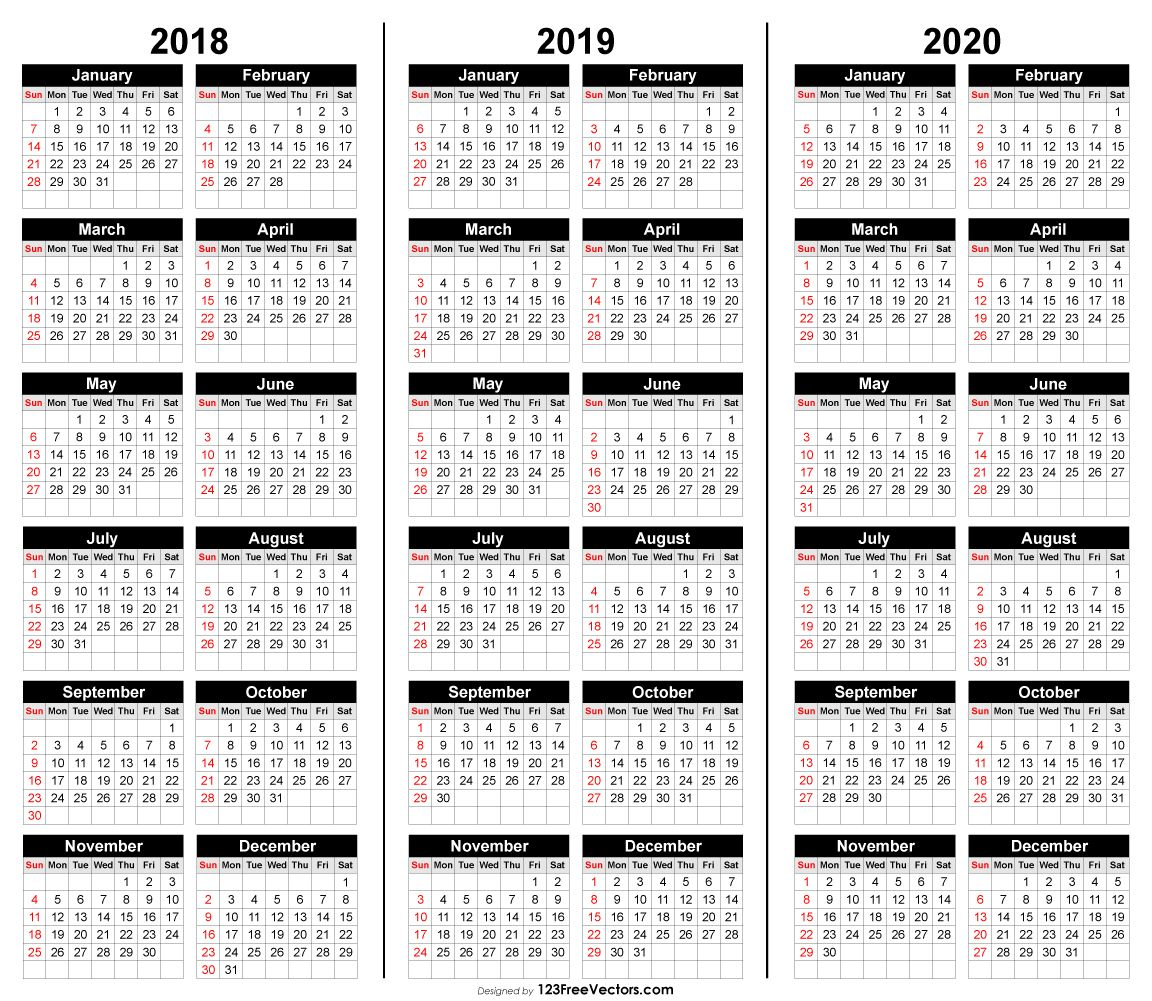 photograph about 3 Year Calendar Printable named No cost 3 Yr Calendar 2018 2019 2020 2019 Calendar