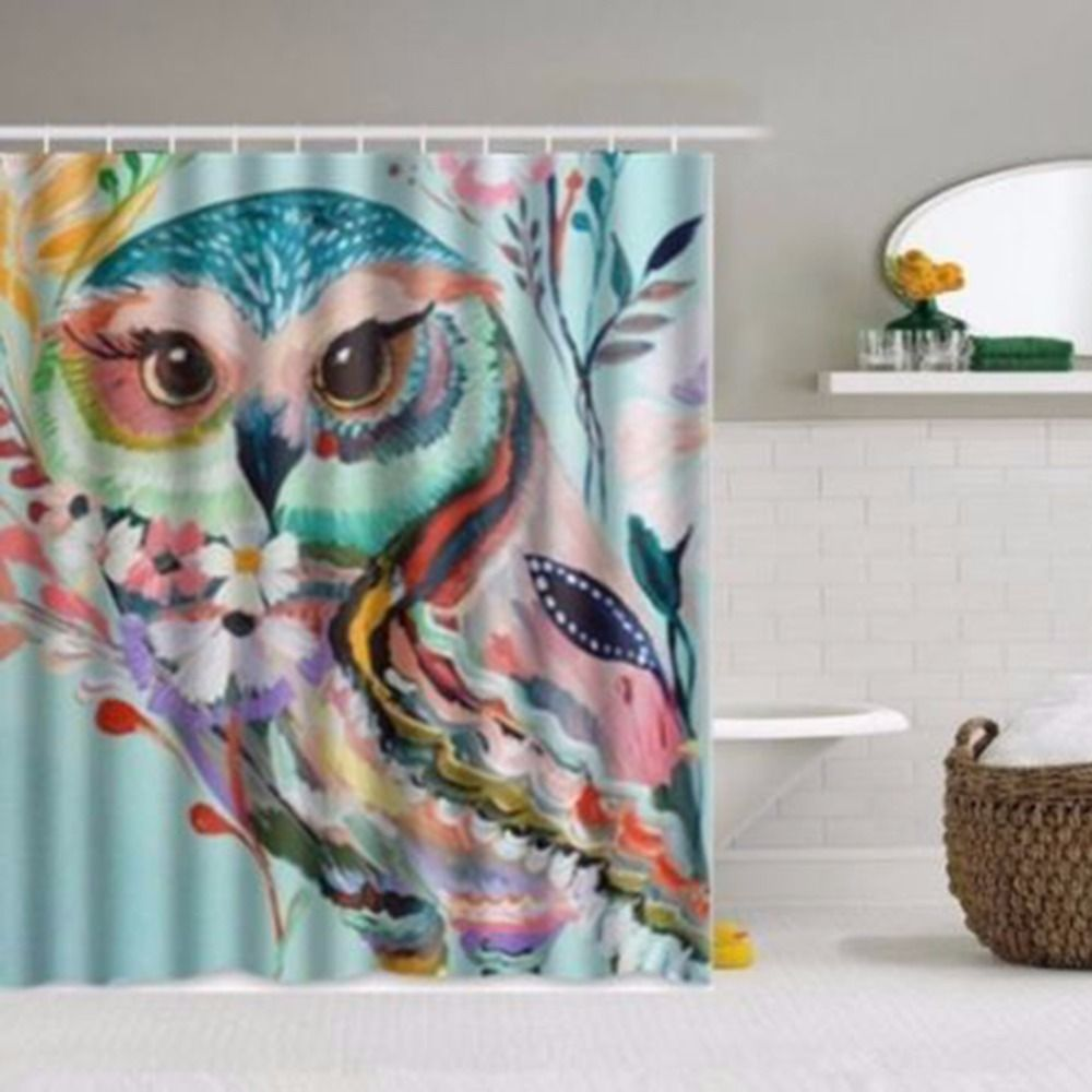 >> Click to Buy << 150x180cm Shower Curtain Colorful Owl Waterproof Bathroom Curtains Bath Bathing Sheer Polyester Washable Shower Curtain 12 Hooks #Affiliate
