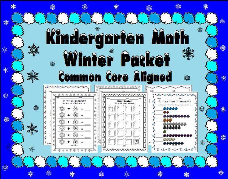 Kindergarten Winter Math Packet - Common Core Aligned | Common cores ...