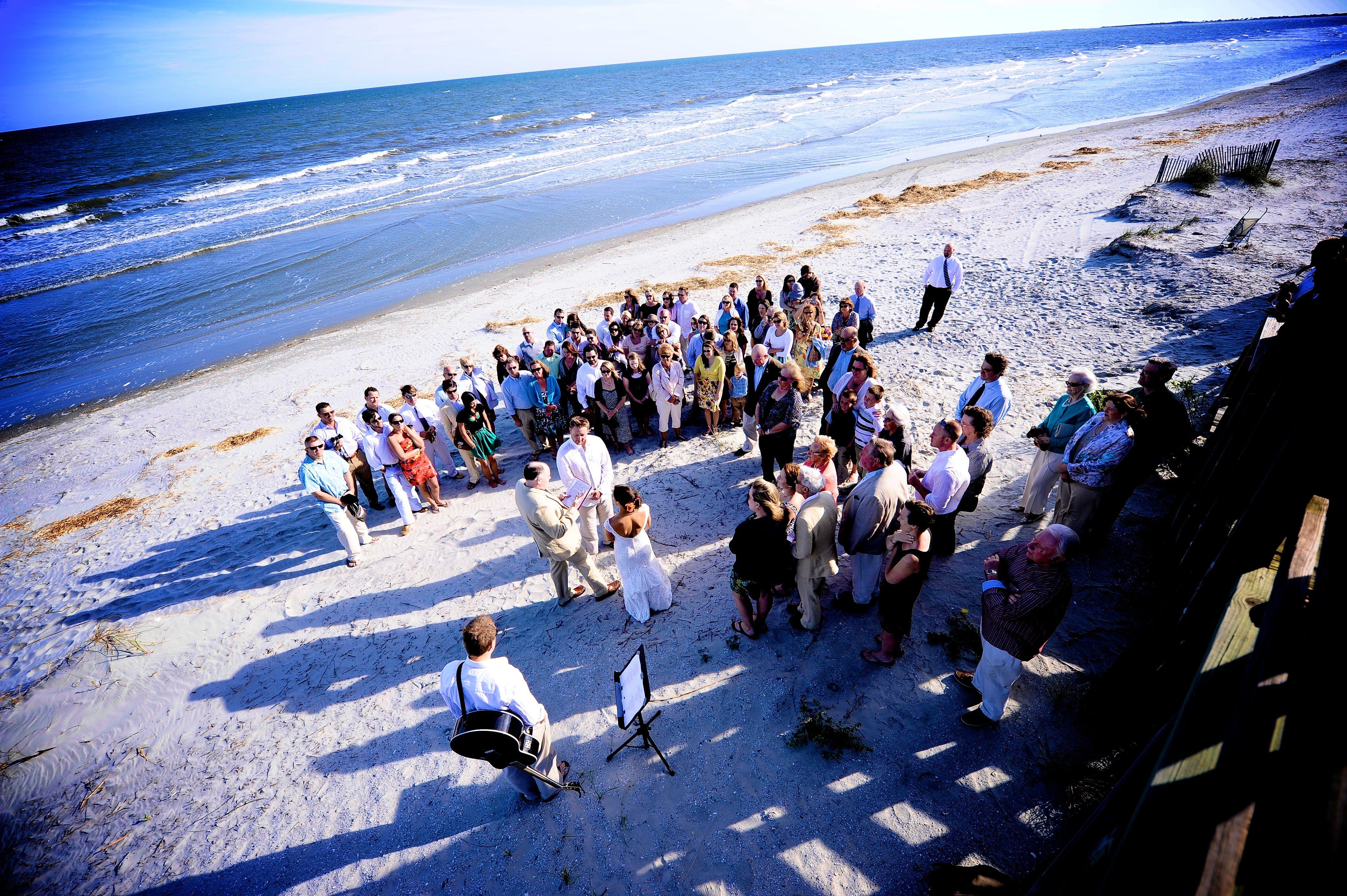 Beach Wedding At Pelican Watch Shelter Folly County Park South Carolina Photograph