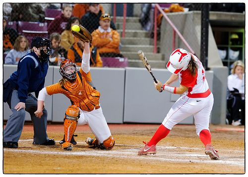 JT4_3666, Brush back pitch; #16 Reina Gaber at the plate (UH)