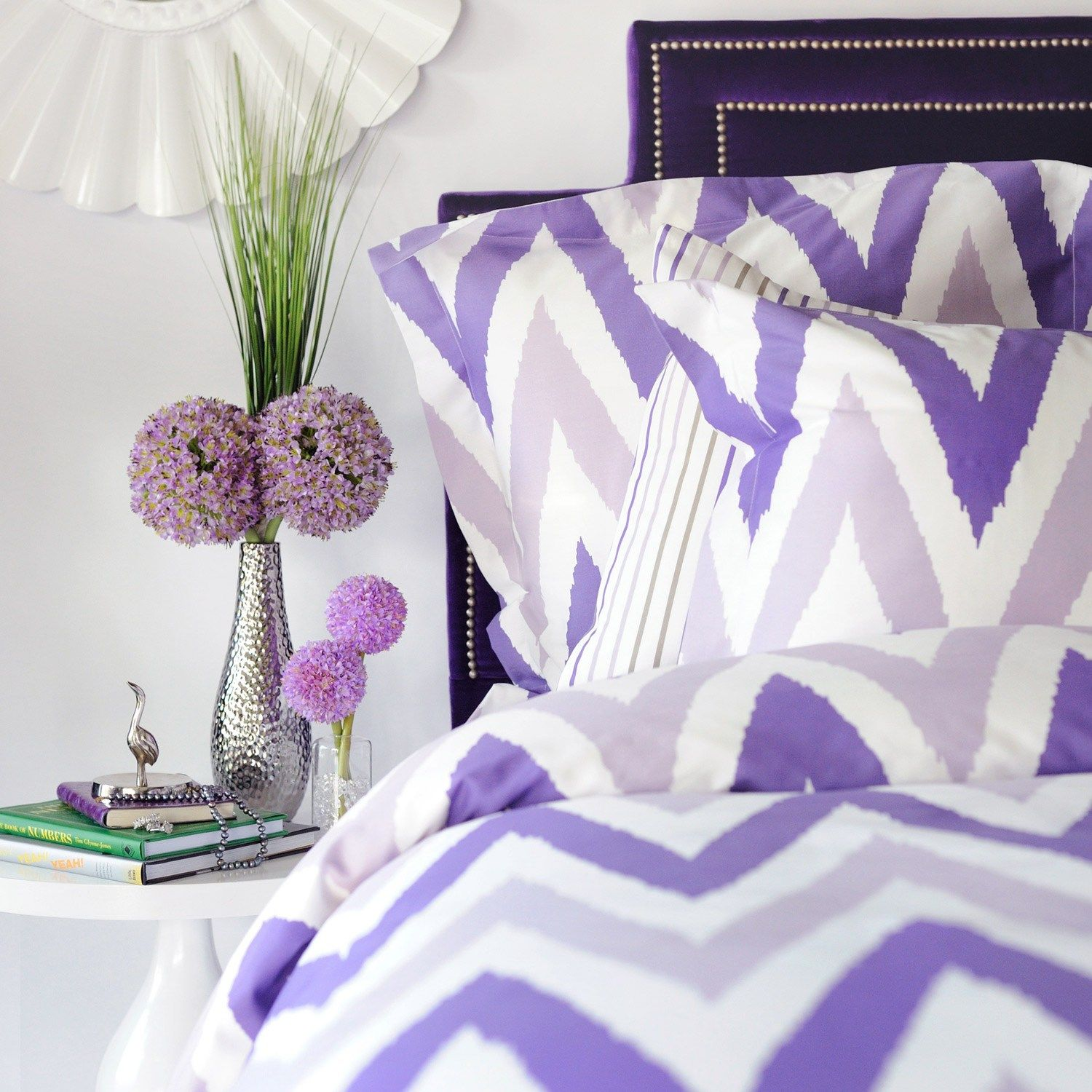 purple chevron and pinstripe bedding includes duvet shams fitted sheet and pillow cases. Black Bedroom Furniture Sets. Home Design Ideas