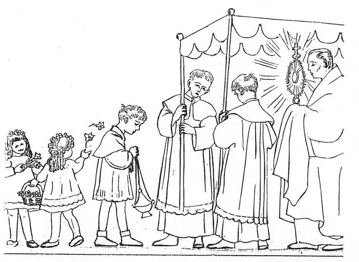 children\'s adoration - Eucharistic procession coloring page ...