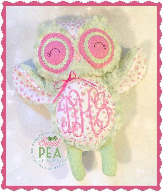 Personalized owl stuffie stuffed animal monogram owl plush personalized owl stuffie stuffed animal monogram owl plush owl personalized baby gift negle Choice Image