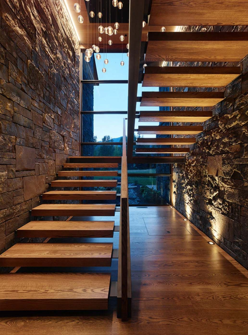 Rustic Mountian Stair Railings: A Mountain Dwelling In Wyoming With Modern-rustic Styling
