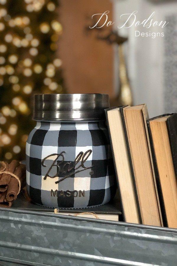 Easy How To Paint Buffalo Plaid Mason Jar images