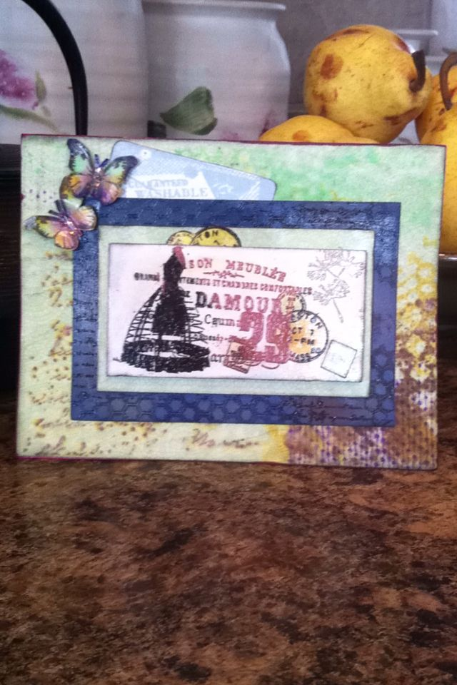 Unity stamp July 2015 Halo Dirty  The butterfly is from unity stamp too love the accent to the card.