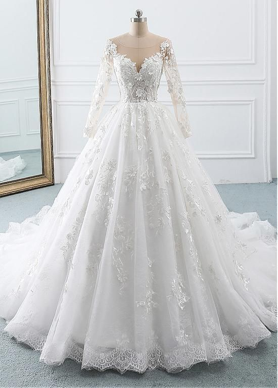 Buy Discount Eyecatching Tulle Lace Scoop Ball Gown Wedding