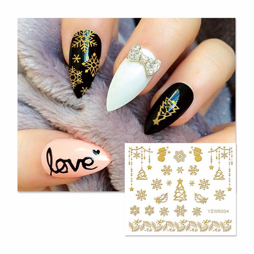 Lcj 3d Nail Stickers Beauty Hot Gold Christmas Design Nail Art