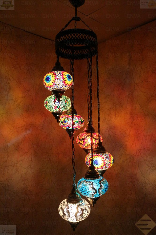 Multicolour Turkish Mosaic Hanging Lamp Light Hand Craft 7 Large Globe Hanging Lamp Pendant Ceiling Lamp Lamp Light