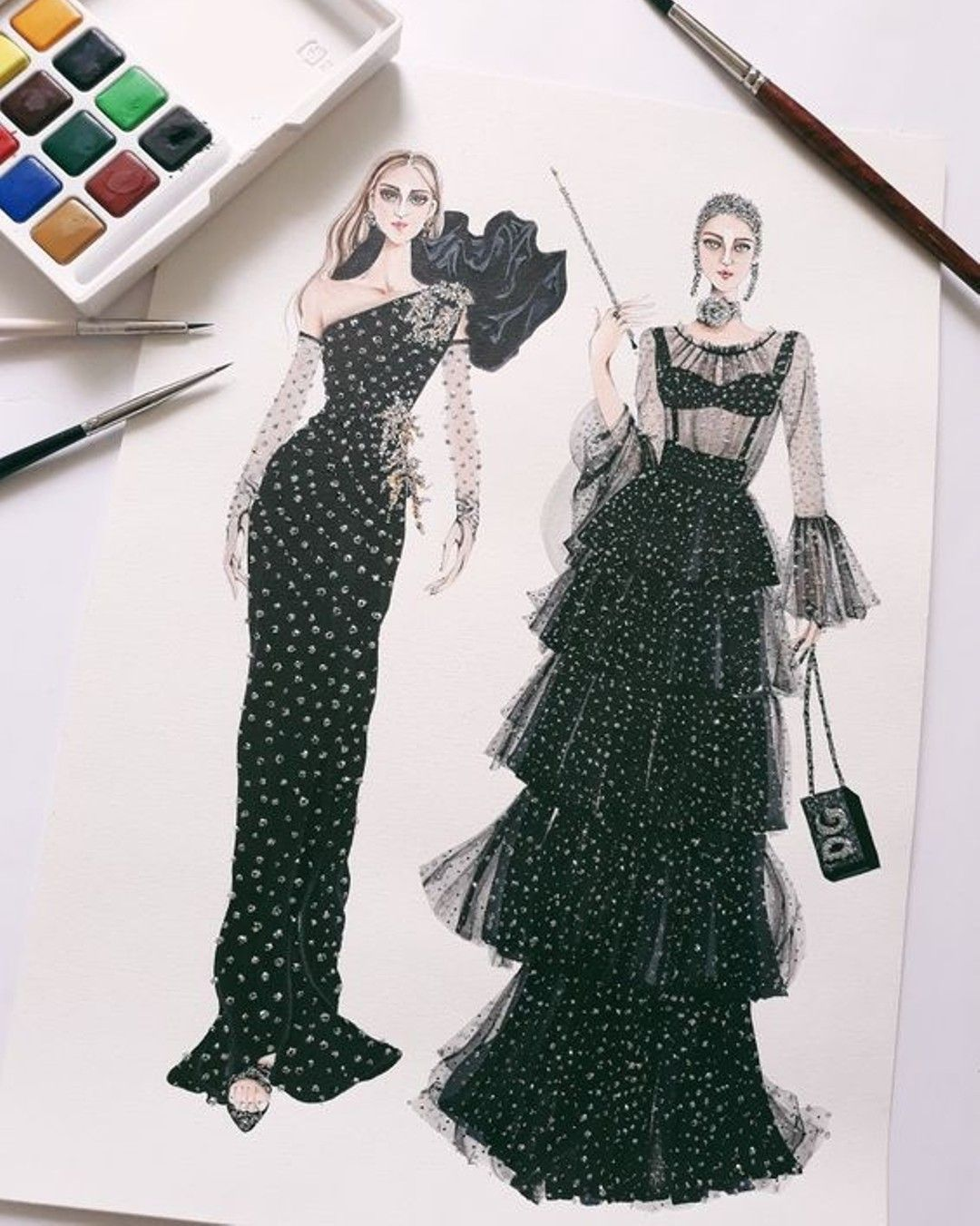 La Imagen Puede Contener 2 Personas Fashion Art Illustration Illustration Fashion Design Fashion Sketches Dresses