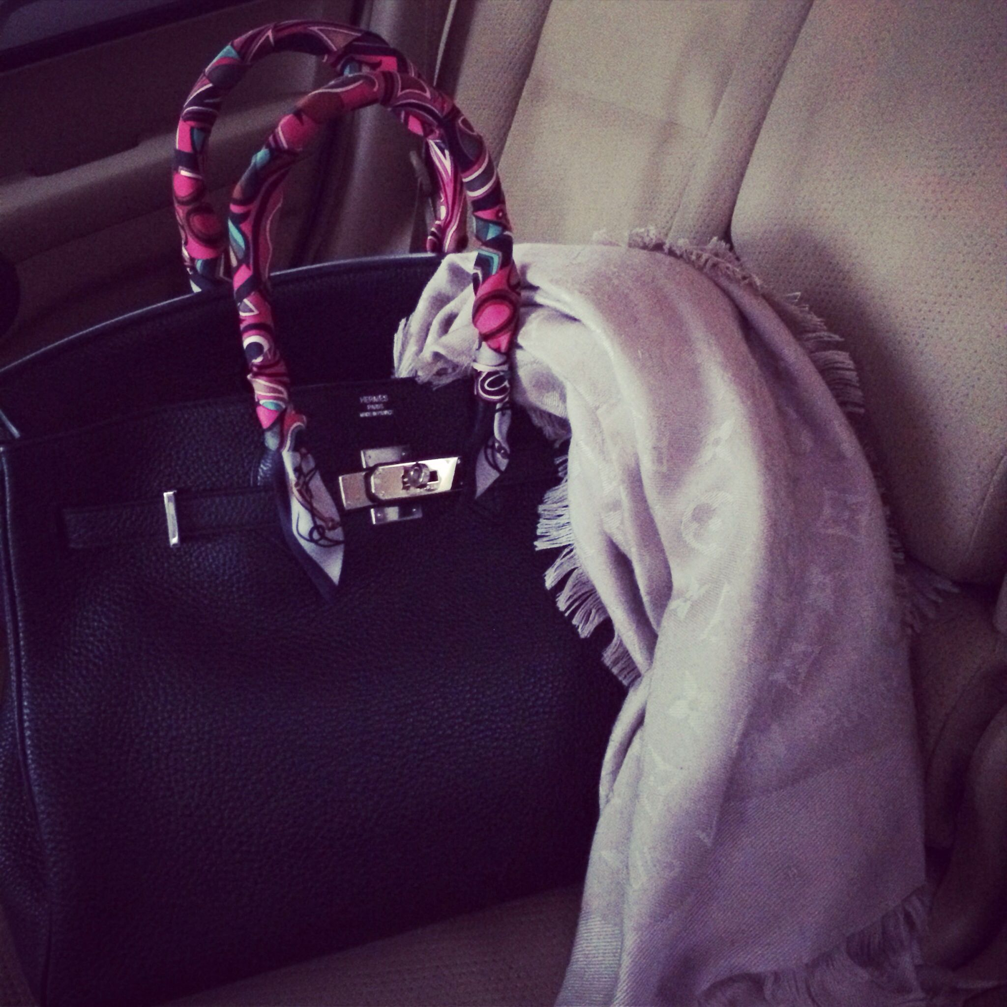 My companion today with black Birkin from Hermes & LV shawl